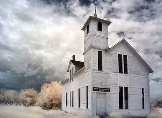 An infrared photo of the Harvey Community Hall in Albert County, New Brunswick.