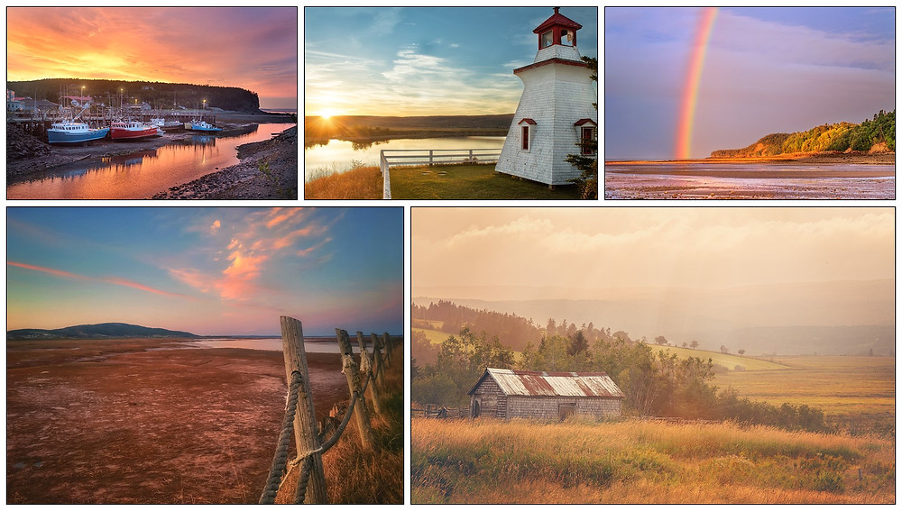 A collage of scenery from the spectacular Bay of Fundy Region of New Brunswick. All photos © Tracy Munson 2018.