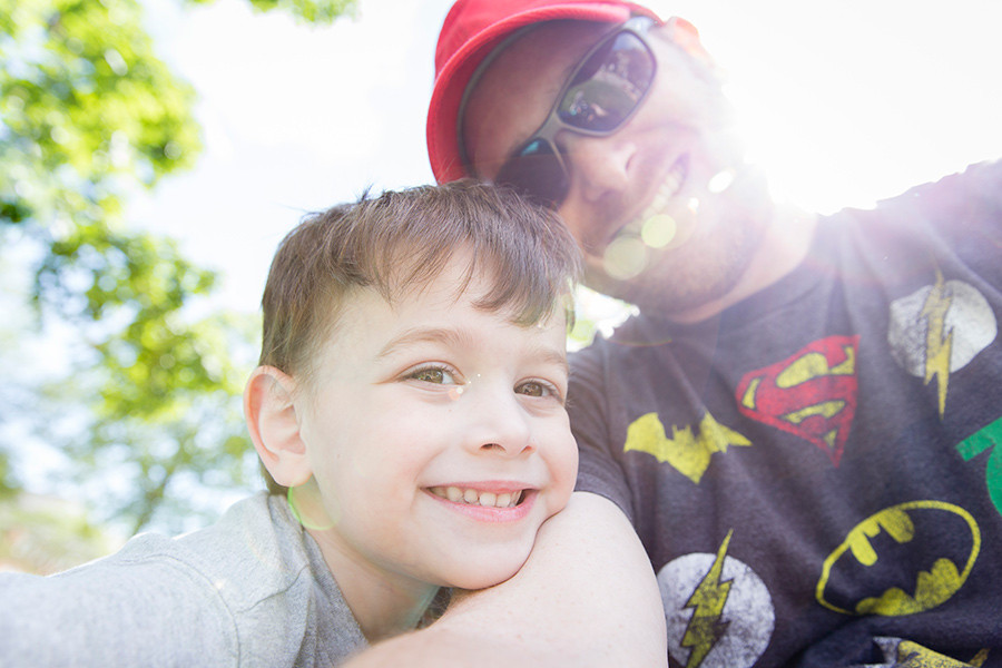 School Picnic - a wide angle portrait of father and son