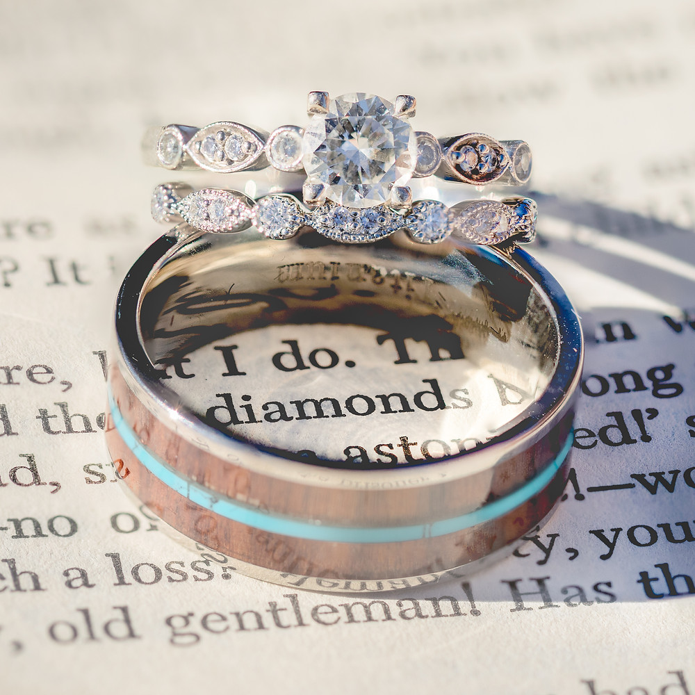 """Wedding Rings on a page of text saying """"I do"""" and """"diamonds"""""""