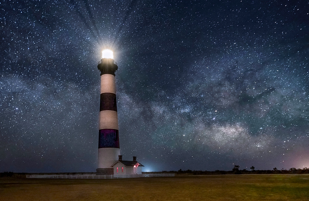Bodie Lighthouse and Milky Way Core by Catherine Johnson