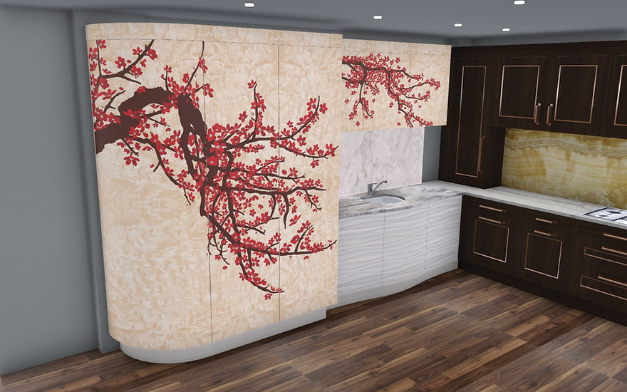 Japanese Blossom Kitchen Render