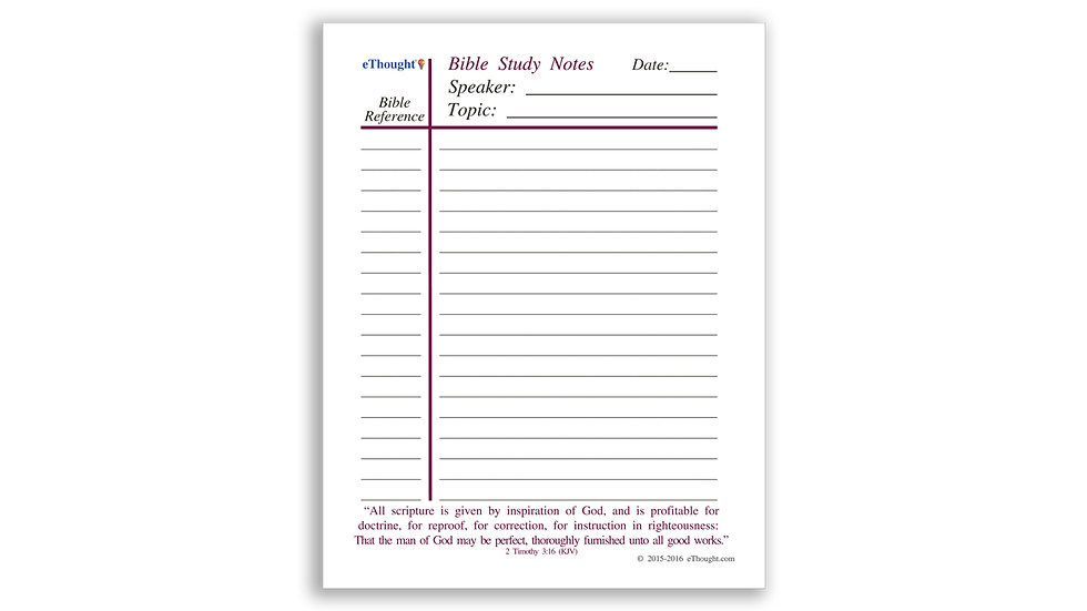 Bible Study Note Pads