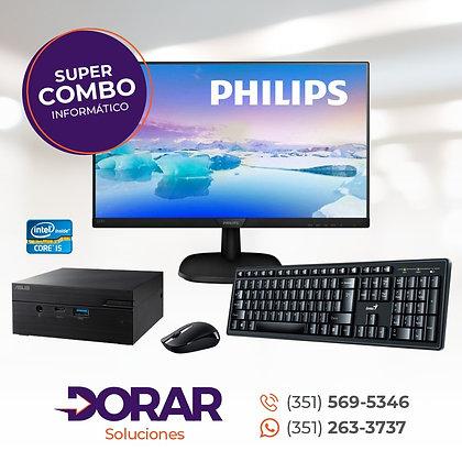 "COMBO MINI PC ASUS INTEL I5 + SSD240GB + 8GB + MONITOR LED 19"" PHILLIPS"