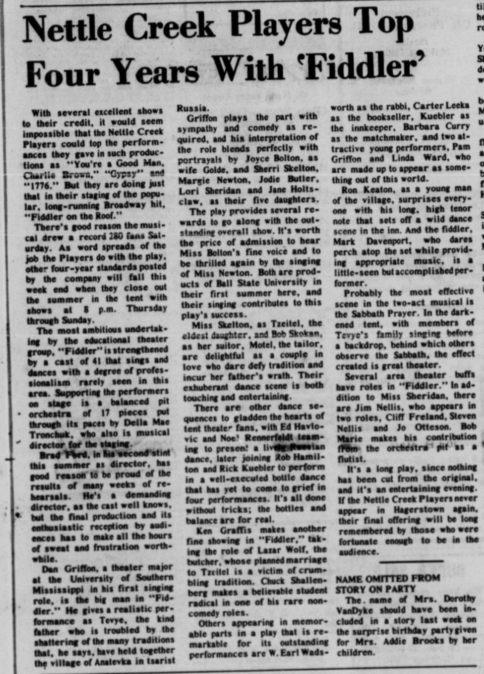 August 1974 Fiddler Review