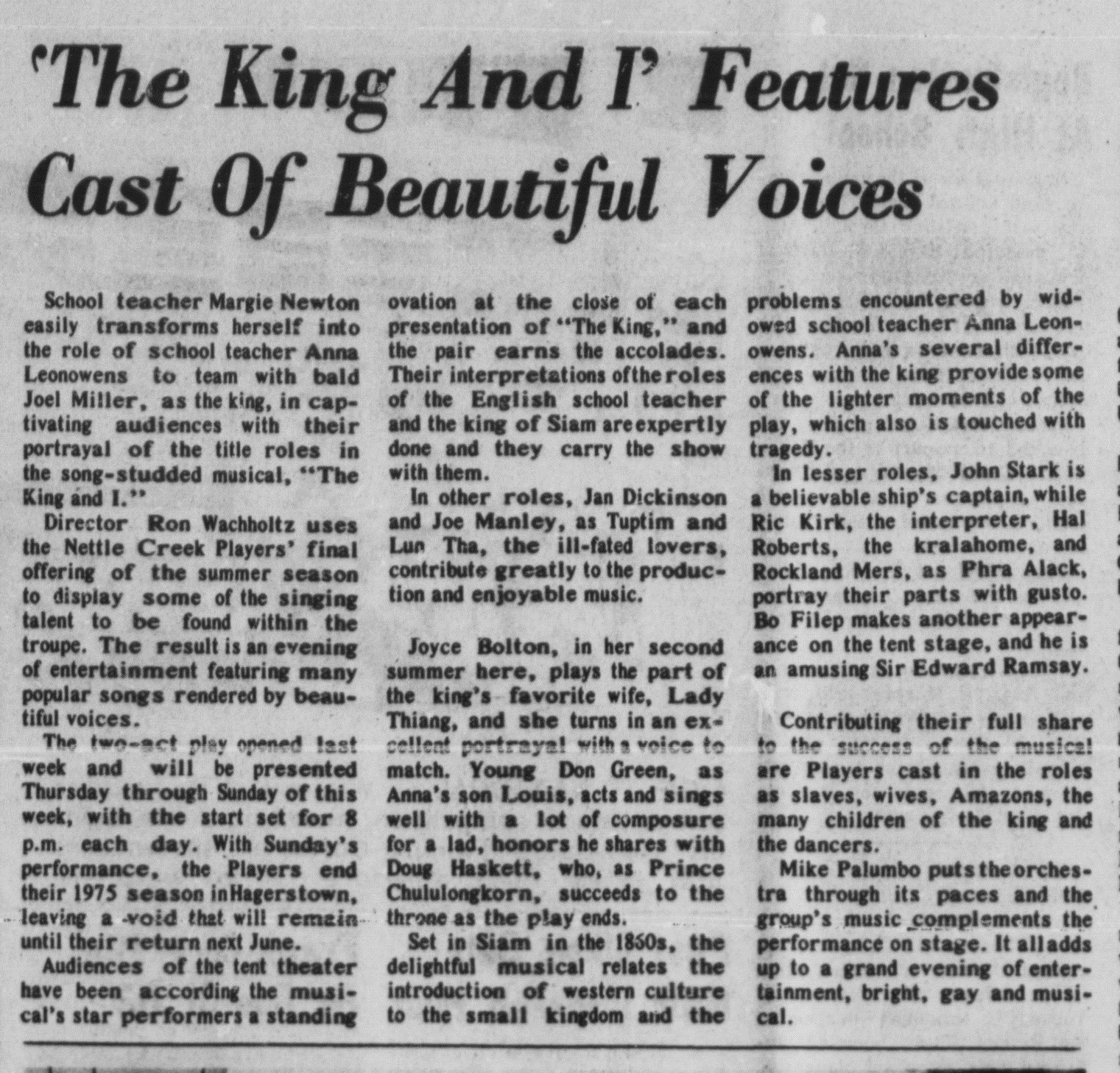 August 1975 King and I Review
