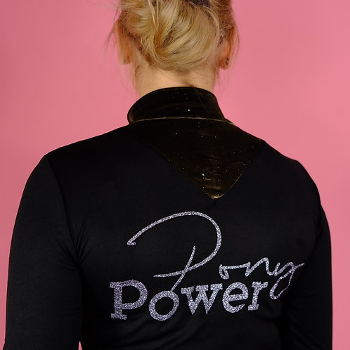 Super light functional long shirt | with navy velvet & without velvet | Pony power print