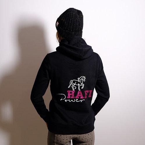 French Terry Hoodie | schwarz + pink | HAFIPOWER-Glitzerdruck