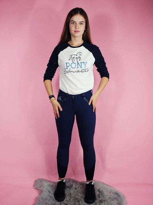 Cooles oversized Baseball-Shirt BIO | navy + weiß | PONYSCHWESTER-Logodruck