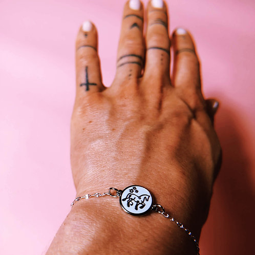 Emaille Armband | gold+rosa & silber+türkis | mit Logopferd