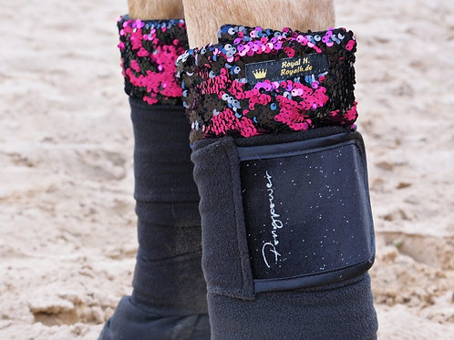 Glitzer Bandagen aus recyceltem Fleece   in zwei Farbkombis   Pony/Cob und Full