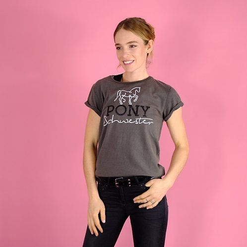 casual super soft T-shirt BIO | gray + black | PONY SISTER glitter print