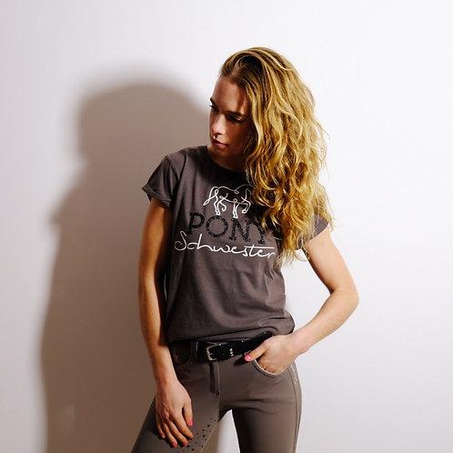 lässiges super soft T-Shirt BIO | grau + schwarz  | PONYSCHWESTER Glitzerdruck