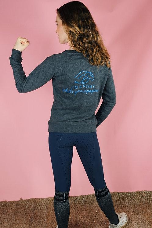 "Cool ""Superpony"" Sweater | black & gray | Kids & Ladies | Organic cotton"