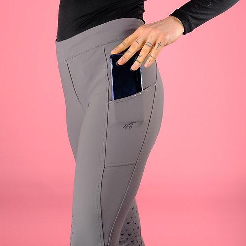 Full Grip Lieblings-Leggings | grau + beige | mit Handytasche