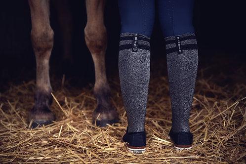 Favorite Glitter Socks | in black + silver | one size