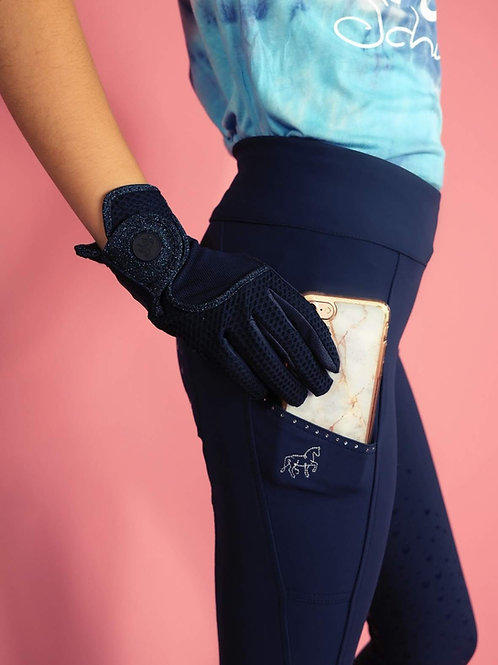 Full grip favorite riding leggings | navy blue + various decors | with cell phone pocket