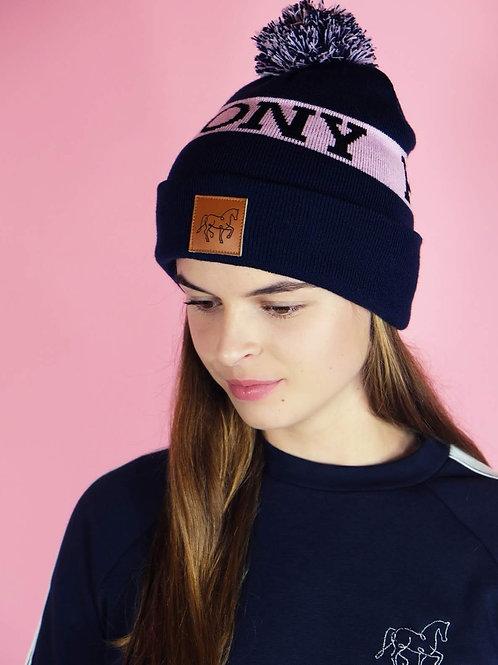 Coole Bommelmütze | navy + rosa |