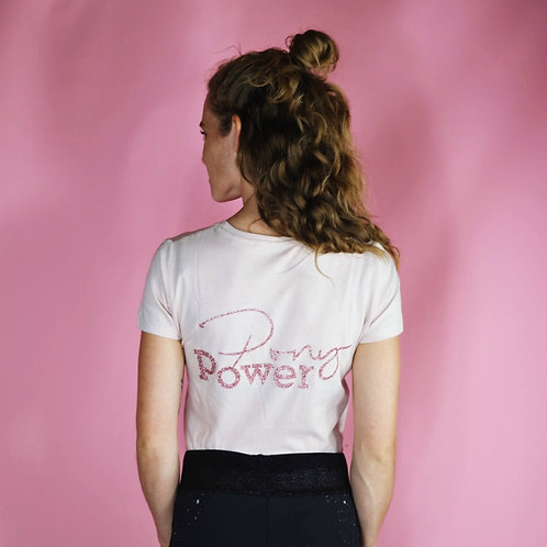 Super Light T-Shirt BIO | rosa + rosegold | PONYPOWER Glitzerdruck