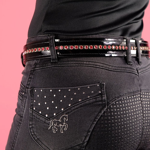 Beautiful belt made of patent leather with glitter rivets | different color options