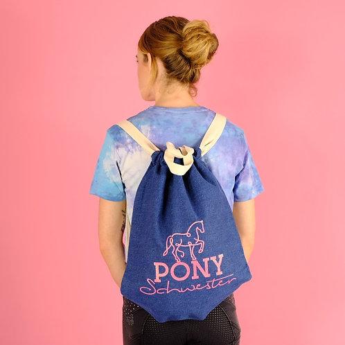 Lässiger Jeans Turnbeutel aus Bio-Baumwolle | blau + korall pink | Glitzer
