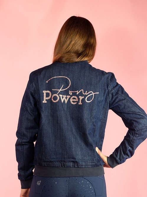 Cool denim bomber jacket | dark indigo blue + rose gold | XS - XL