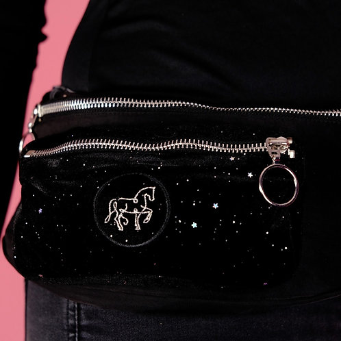 Fanny pack made of cool glitter velvet | in black + silver | with cell phone pocket