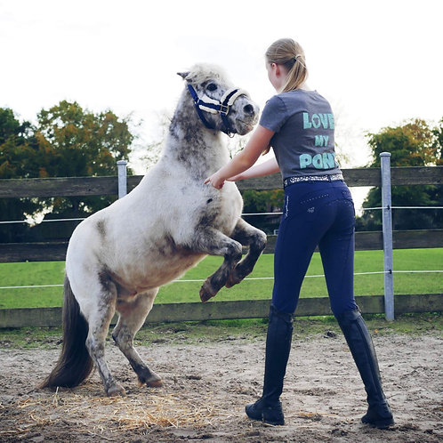 "ESKE LUISE T-Shirt BIO | schwarz + grau | ""Love my Pony""-Glitzerdruck"