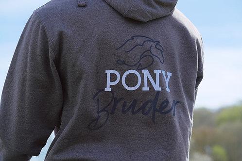 Cooler Ponybruder & Ponypapa Hoodie | grau + navy | Größe 104 - 3XL