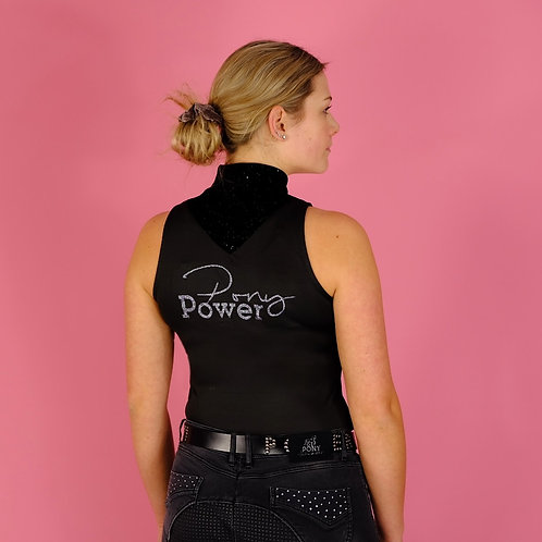 Super Light Funktions-Shirt | sleeveless | schwarz | PONYPOWER Glitzerdruck