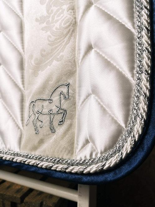 """BAMBUS + SATIN SCHABRACKE """"ornament white + rose & navy"""" in 4 Größen"""