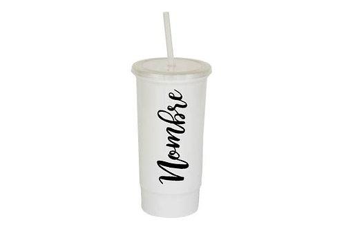 Vaso blanco personalizado texto negro