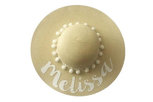 Sombrero playero personalizado texto blanco
