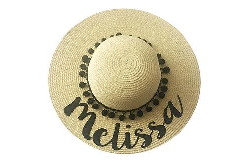 Sombrero playero personalizado texto negro
