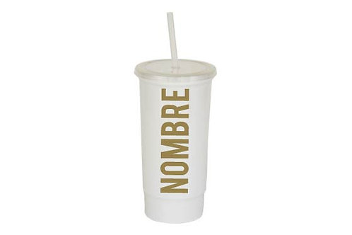Vaso blanco personalizado texto dorado