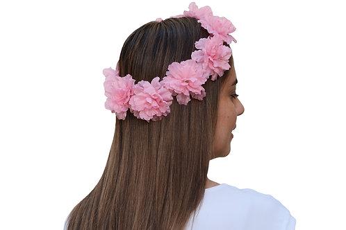 Corona de Flores Rosa Claro