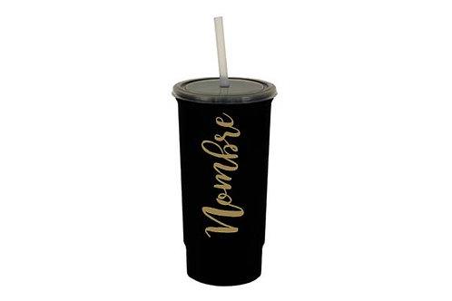 Vaso negro personalizado texto dorado
