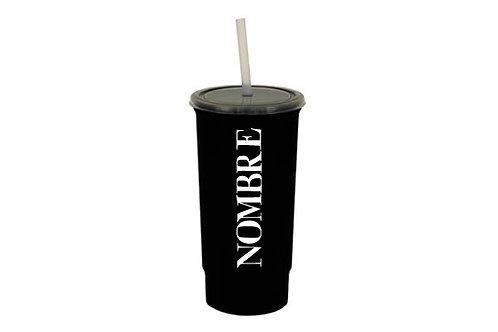 Vaso negro pesonalizado texto blanco