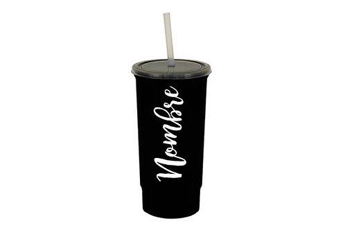 Vaso negro personalizado texto blanco