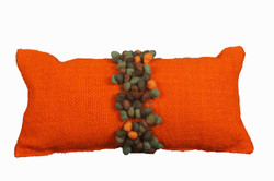 Orange Cushion with Brown Pompons