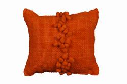 Orange Cushion with Orange Pompoms
