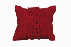 Red Cushion with Red Pompoms