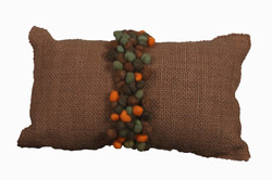 Brown Cushion with Orange Pompons