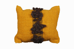 Mustard Cushion with Brown Pompons