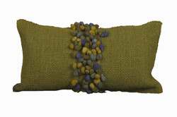 Green Cushion with Green Pompoms