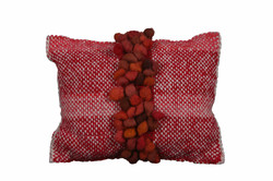 Red White Cushion with Red Pompoms