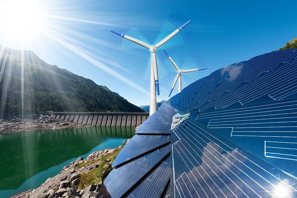 Renewable Energy - Sunlight with solar p