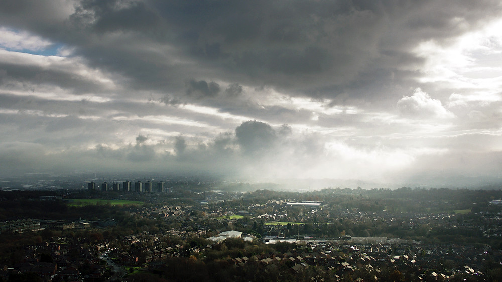 Recent flight over Rochdale with dramatic skies