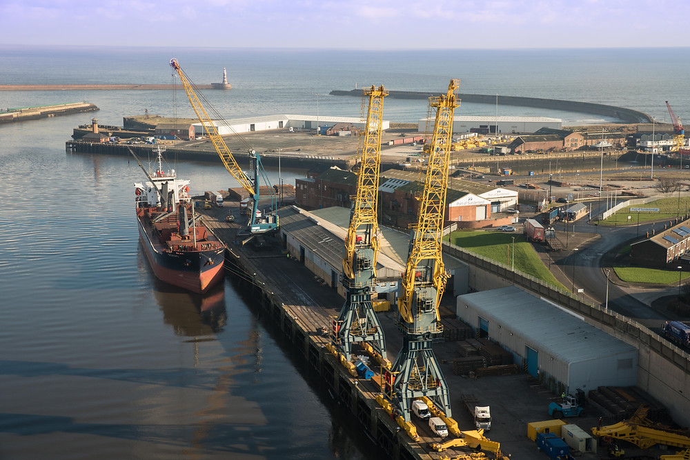 DCMI and BB Stratus shoot aerial material in the port of Sunderland