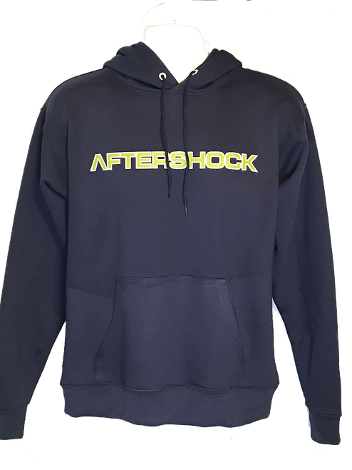 Navy hoodie with green fill white outlin